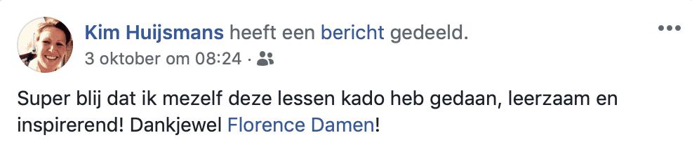 Recensie Kim Huijsmans MFR op facebook